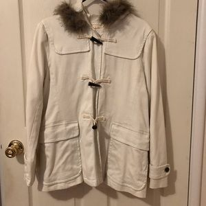 GAP Off White Faux Fur Coat